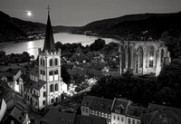 Moonrise over Bacharach in Black & White