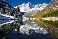 Maroon Bells Snowy Reflections