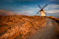 Consuegra Windmill Sunset and Moon